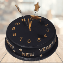 Classic Black New Year Fondant Cake
