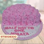 Cute Flowery Half Cake
